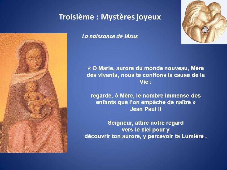 « O Marie, aurore du monde nouveau, Mère des vivants, nous te confions la cause de la Vie : regarde, ô Mère, le nombre immense des enfants que lon emp