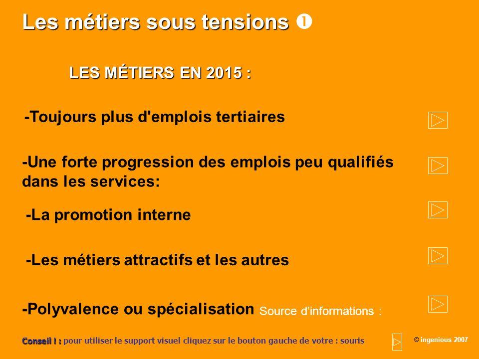 Les métiers sous tensions Les métiers sous tensions LES MÉTIERS EN 2015 : -Toujours plus d'emplois tertiaires -Une forte progression des emplois peu q