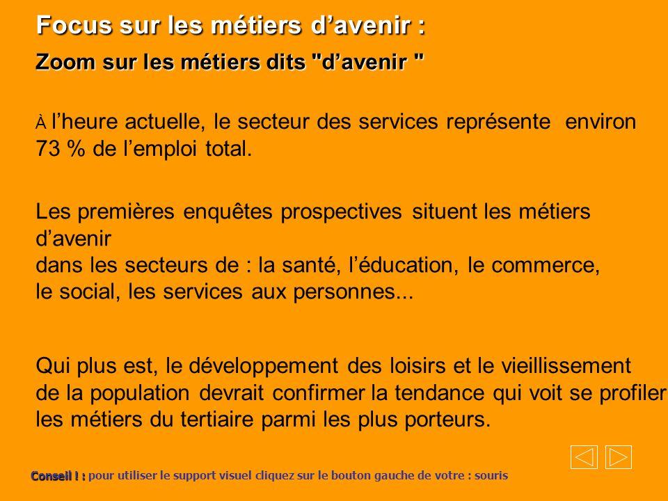 Focus sur les métiers davenir : Zoom sur les métiers dits davenir À lheure actuelle, le secteur des services représente environ 73 % de lemploi total.