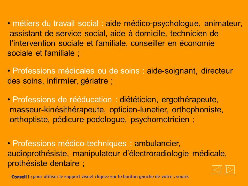 métiers du travail social : aide médico-psychologue, animateur, assistant de service social, aide à domicile, technicien de lintervention sociale et f