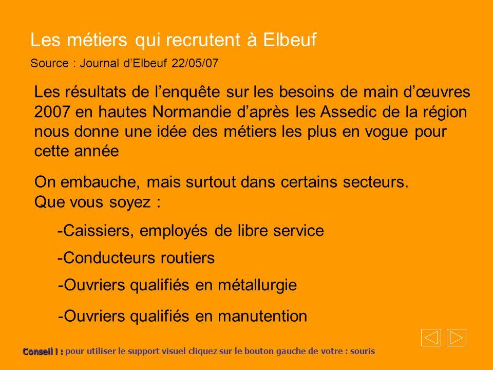 Les métiers qui recrutent à Elbeuf Source : Journal dElbeuf 22/05/07 Les résultats de lenquête sur les besoins de main dœuvres 2007 en hautes Normandi