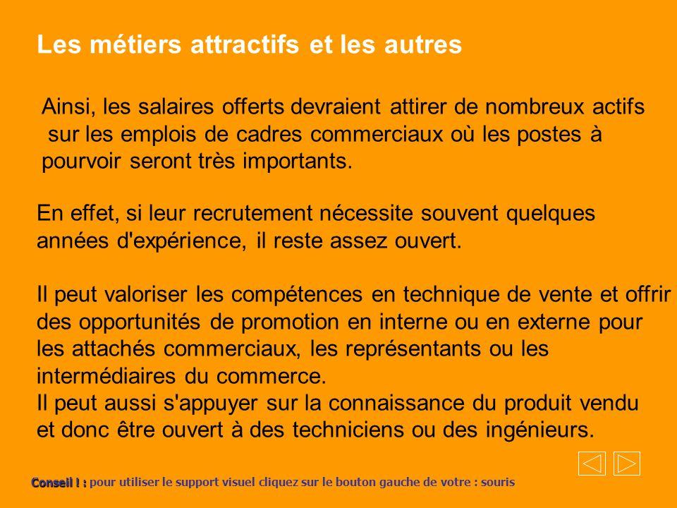 Les métiers attractifs et les autres Ainsi, les salaires offerts devraient attirer de nombreux actifs sur les emplois de cadres commerciaux où les pos
