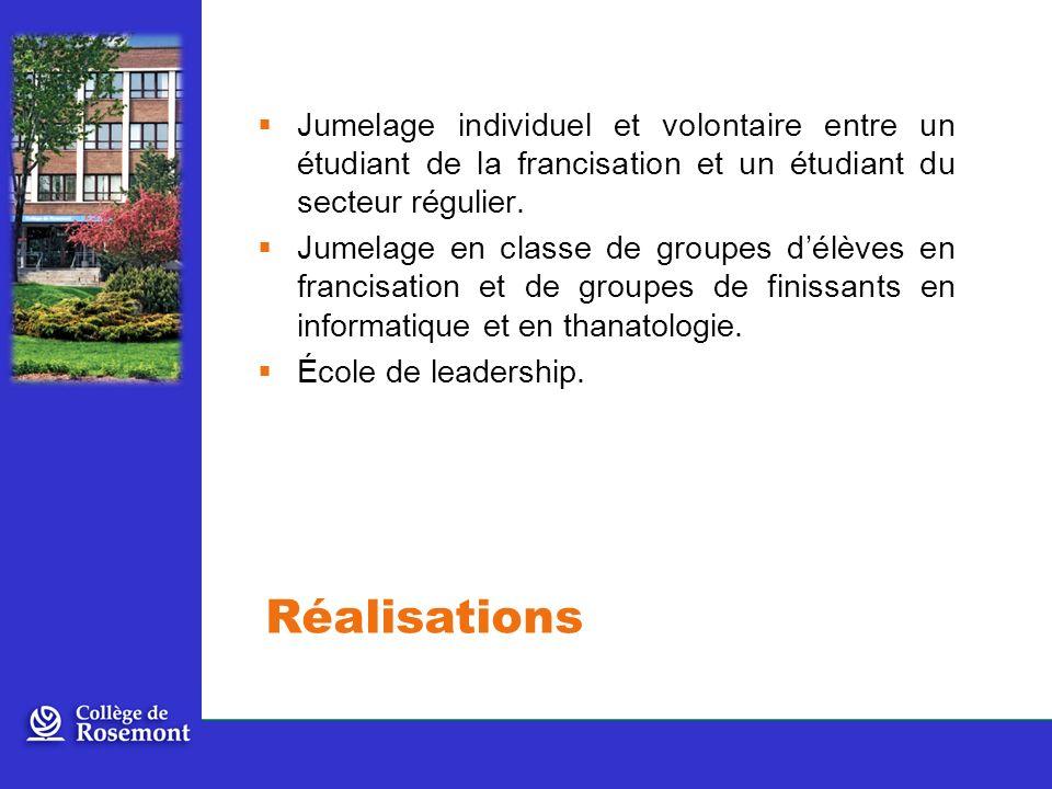 Jumelage individuel et volontaire entre un étudiant de la francisation et un étudiant du secteur régulier.