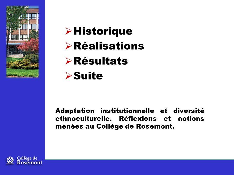 Historique Réalisations Résultats Suite Adaptation institutionnelle et diversité ethnoculturelle.