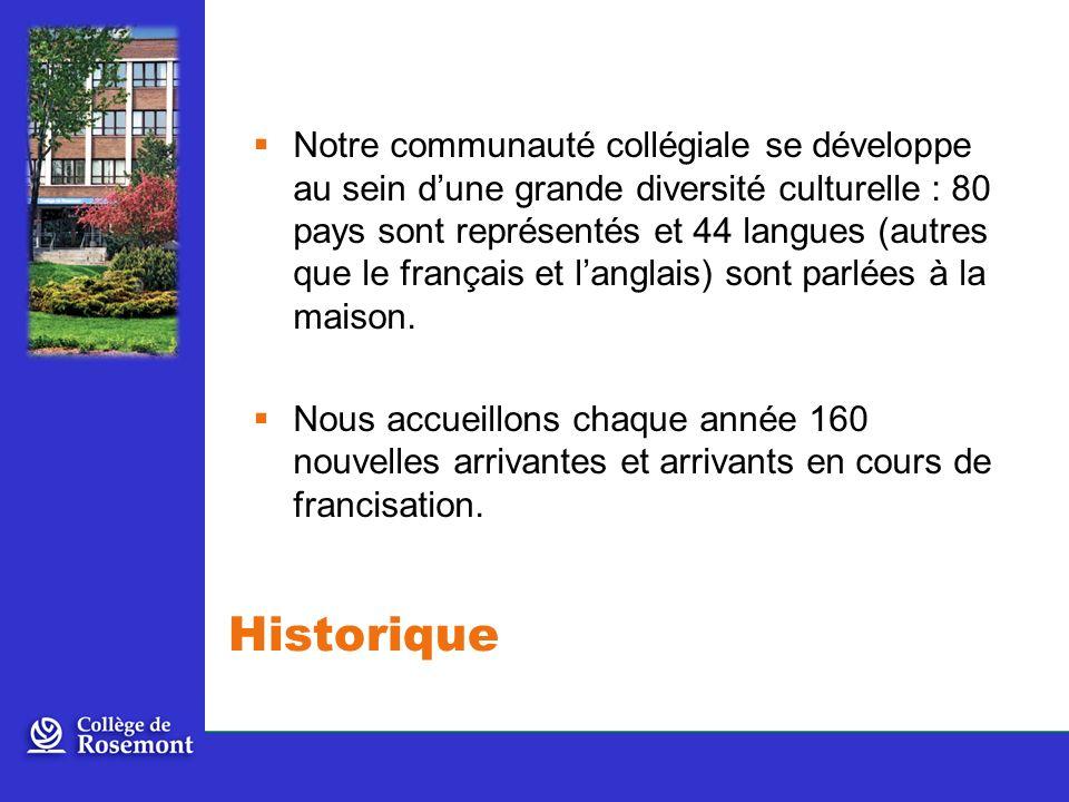 Notre communauté collégiale se développe au sein dune grande diversité culturelle : 80 pays sont représentés et 44 langues (autres que le français et langlais) sont parlées à la maison.