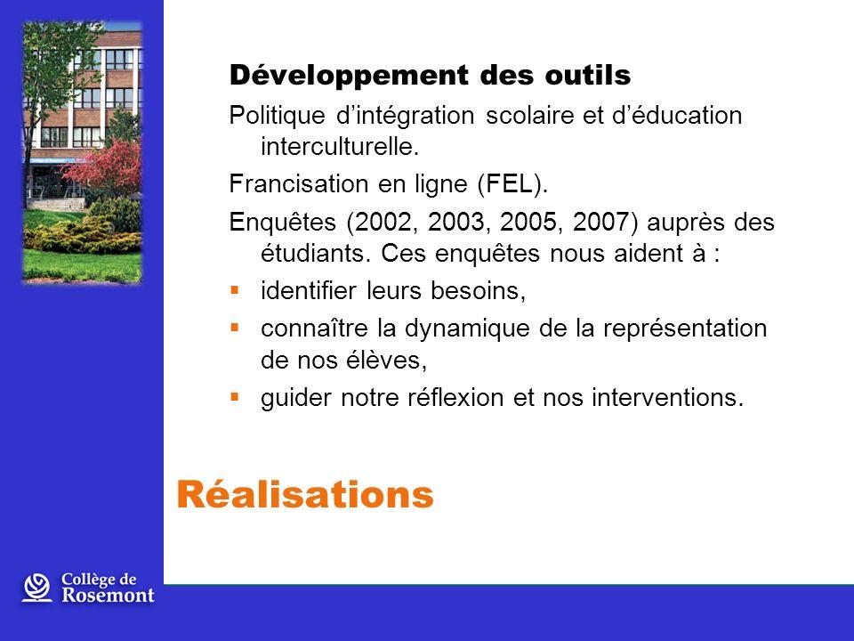Développement des outils Politique dintégration scolaire et déducation interculturelle.