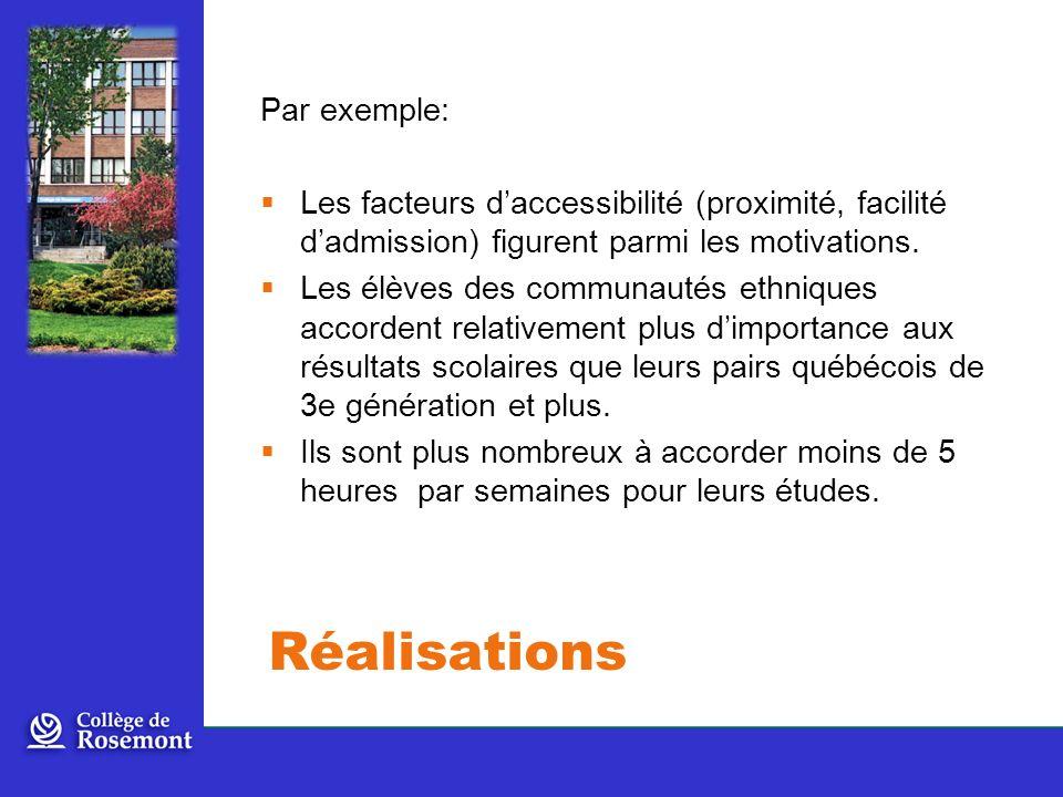 Par exemple: Les facteurs daccessibilité (proximité, facilité dadmission) figurent parmi les motivations.