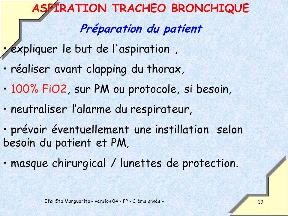 Ifsi Ste Marguerite - version 04 - PP - 2 ème année - 13 ASPIRATION TRACHEO BRONCHIQUE Préparation du patient expliquer le but de l'aspiration, réalis
