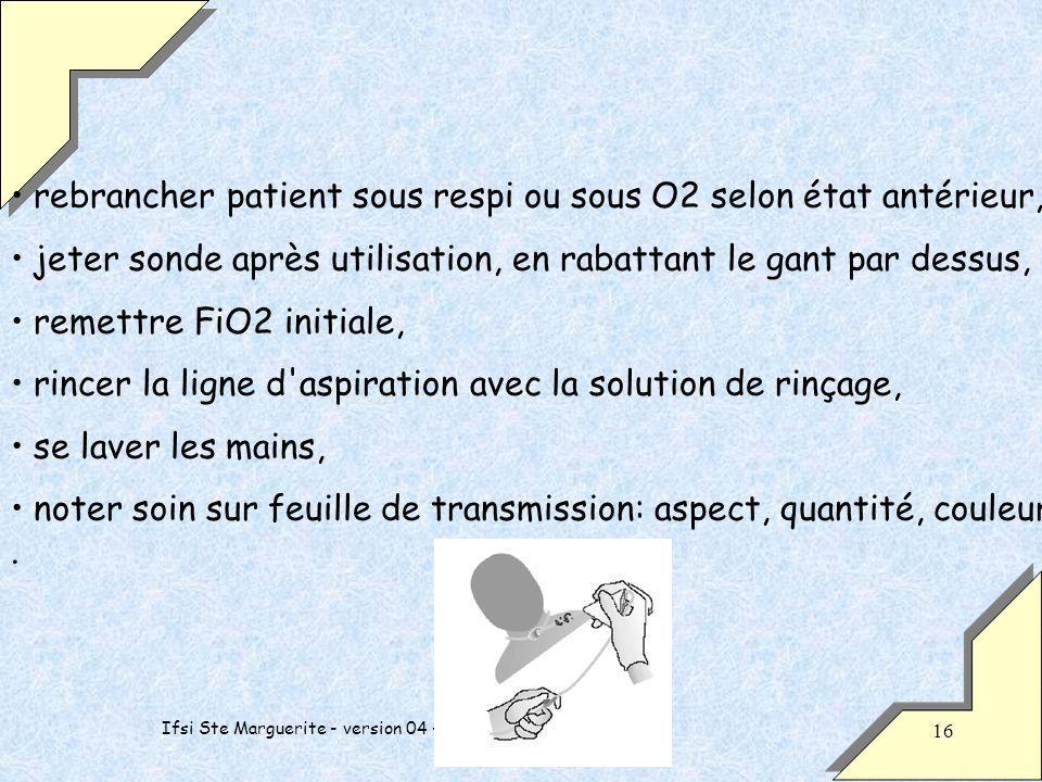 Ifsi Ste Marguerite - version 04 - PP - 2 ème année - 16 rebrancher patient sous respi ou sous O2 selon état antérieur, jeter sonde après utilisation,