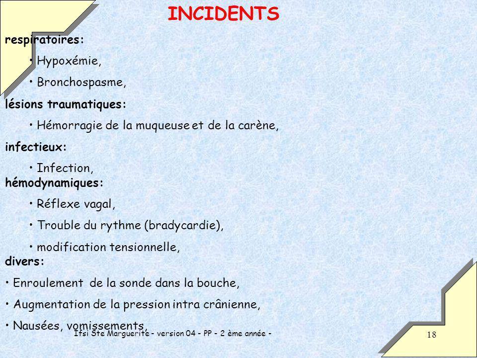Ifsi Ste Marguerite - version 04 - PP - 2 ème année - 18 INCIDENTS respiratoires: Hypoxémie, Bronchospasme, lésions traumatiques: Hémorragie de la muqueuse et de la carène, infectieux: Infection, hémodynamiques: Réflexe vagal, Trouble du rythme (bradycardie), modification tensionnelle, divers: Enroulement de la sonde dans la bouche, Augmentation de la pression intra crânienne, Nausées, vomissements,