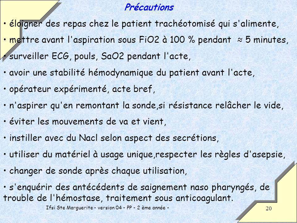 Ifsi Ste Marguerite - version 04 - PP - 2 ème année - 20 Précautions éloigner des repas chez le patient trachéotomisé qui s'alimente, mettre avant l'a