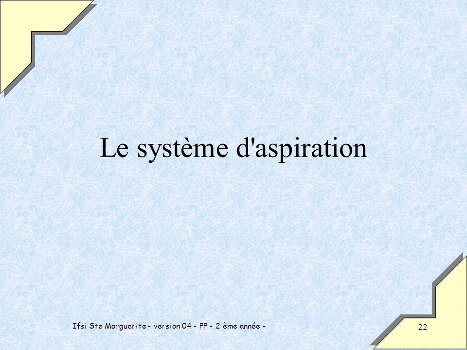 Ifsi Ste Marguerite - version 04 - PP - 2 ème année - 22 Le système d aspiration