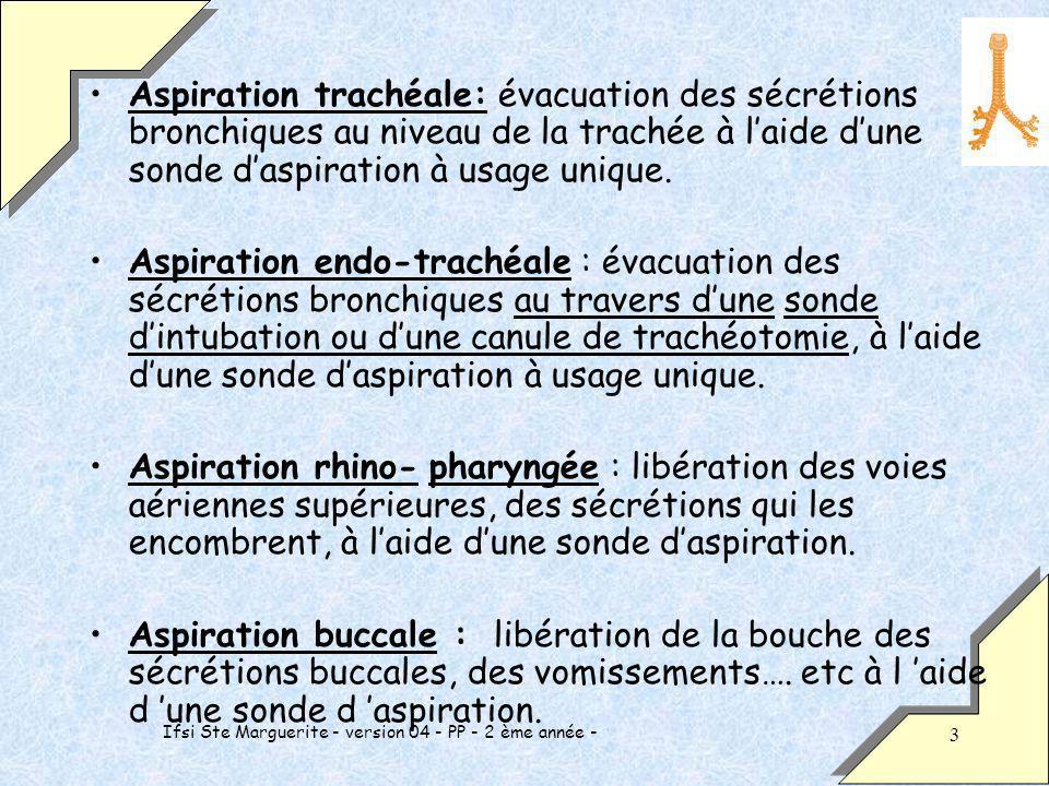 Ifsi Ste Marguerite - version 04 - PP - 2 ème année - 3 Aspiration trachéale: évacuation des sécrétions bronchiques au niveau de la trachée à laide dune sonde daspiration à usage unique.