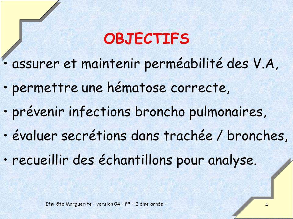 Ifsi Ste Marguerite - version 04 - PP - 2 ème année - 4 OBJECTIFS assurer et maintenir perméabilité des V.A, permettre une hématose correcte, prévenir infections broncho pulmonaires, évaluer secrétions dans trachée / bronches, recueillir des échantillons pour analyse.