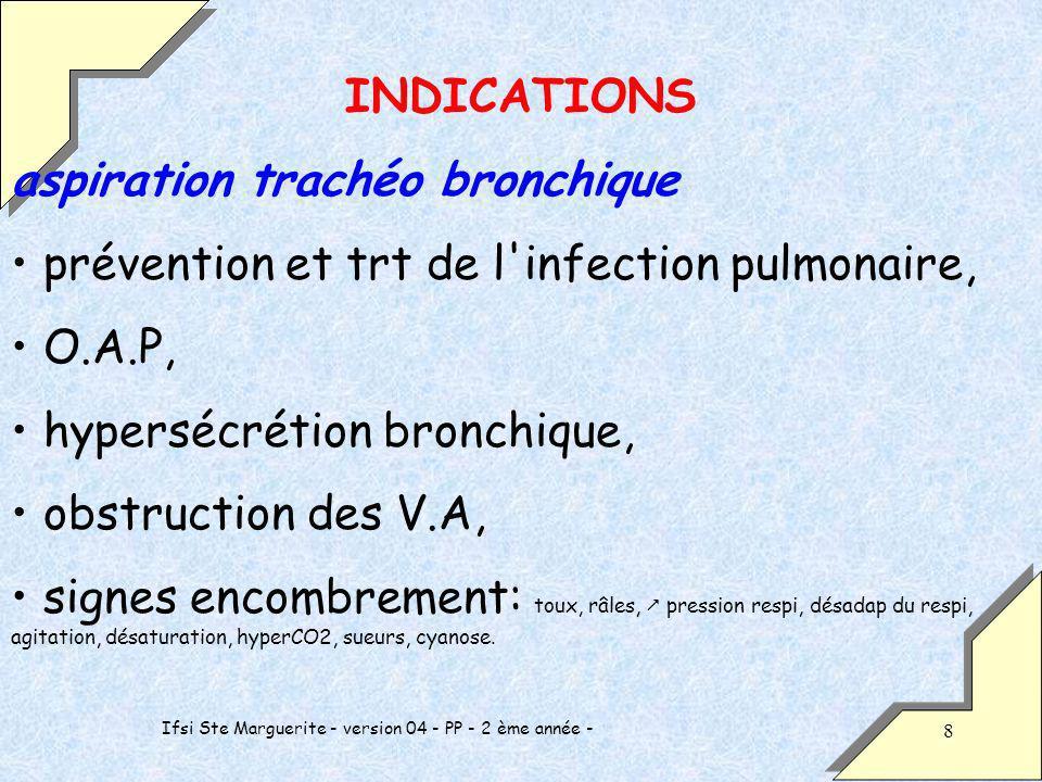 Ifsi Ste Marguerite - version 04 - PP - 2 ème année - 8 INDICATIONS aspiration trachéo bronchique prévention et trt de l infection pulmonaire, O.A.P, hypersécrétion bronchique, obstruction des V.A, signes encombrement: toux, râles, pression respi, désadap du respi, agitation, désaturation, hyperCO2, sueurs, cyanose.