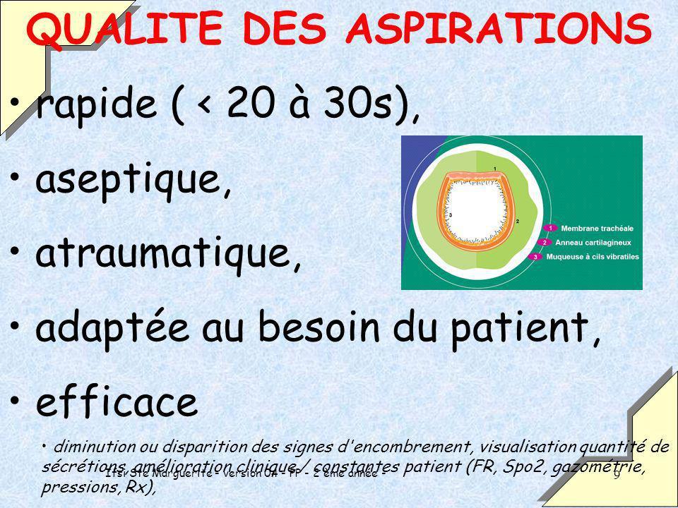 Ifsi Ste Marguerite - version 04 - PP - 2 ème année - 9 QUALITE DES ASPIRATIONS rapide ( < 20 à 30s), aseptique, atraumatique, adaptée au besoin du pa