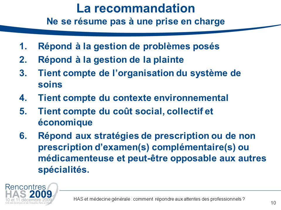 La recommandation Ne se résume pas à une prise en charge 1.Répond à la gestion de problèmes posés 2.Répond à la gestion de la plainte 3.Tient compte d