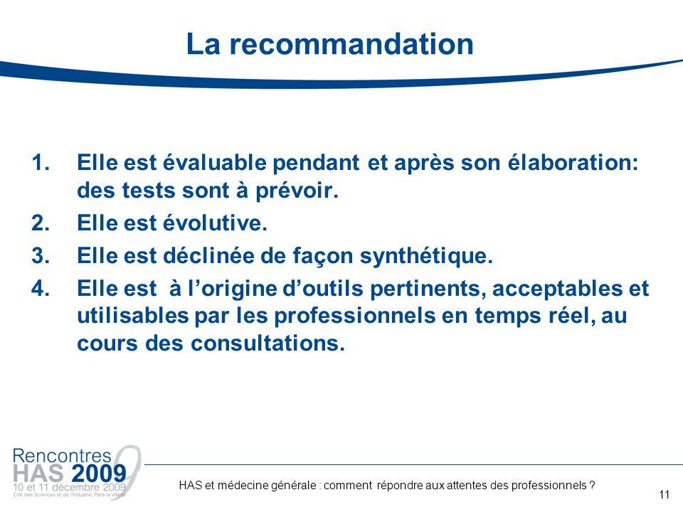La recommandation 1.Elle est évaluable pendant et après son élaboration: des tests sont à prévoir. 2.Elle est évolutive. 3.Elle est déclinée de façon