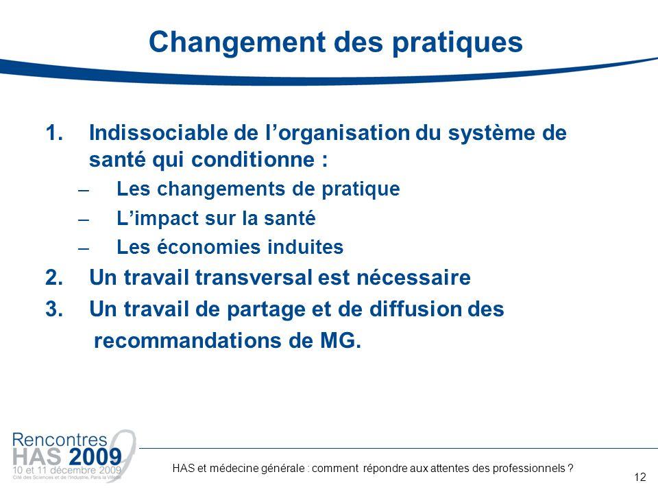 Changement des pratiques 1.Indissociable de lorganisation du système de santé qui conditionne : –Les changements de pratique –Limpact sur la santé –Le