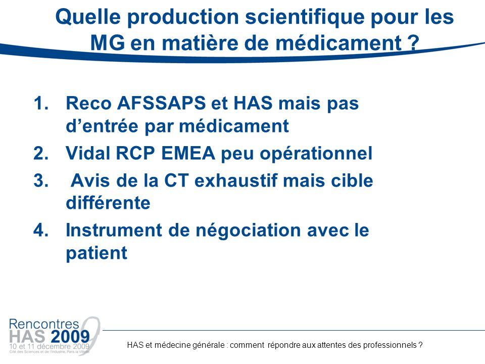Quelle production scientifique pour les MG en matière de médicament ? 1.Reco AFSSAPS et HAS mais pas dentrée par médicament 2.Vidal RCP EMEA peu opéra