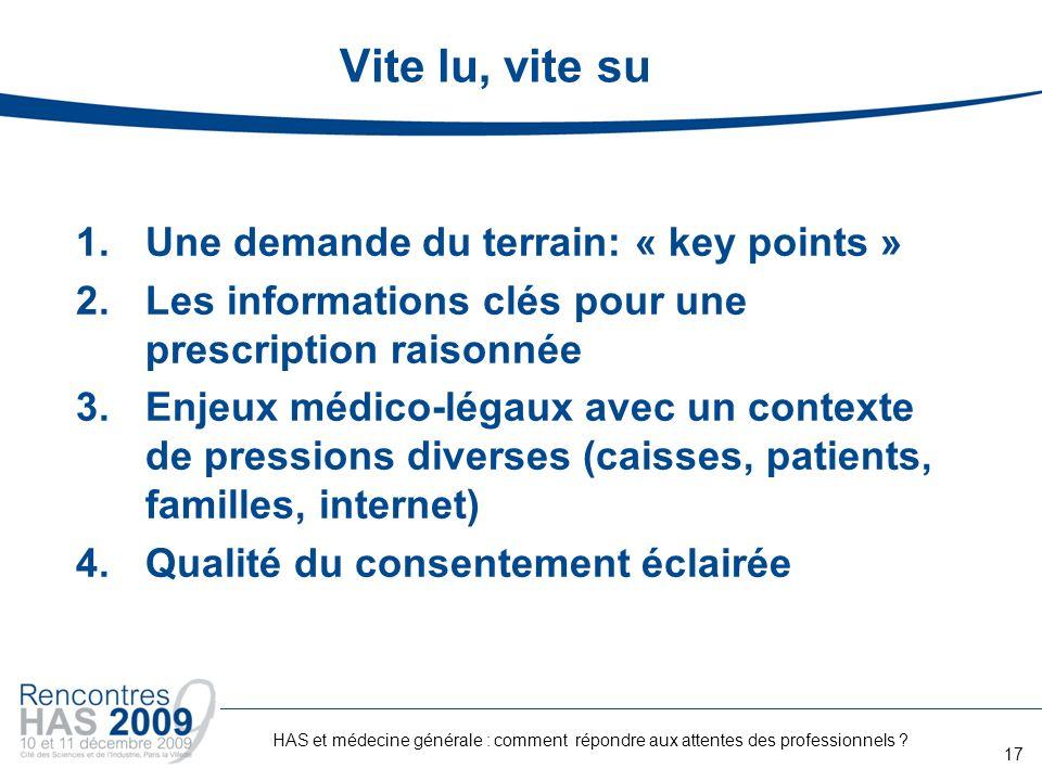 Vite lu, vite su 1.Une demande du terrain: « key points » 2.Les informations clés pour une prescription raisonnée 3.Enjeux médico-légaux avec un conte