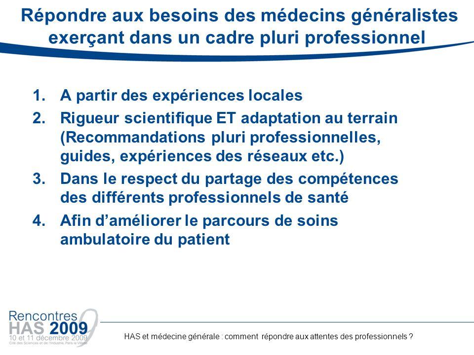 Répondre aux besoins des médecins généralistes exerçant dans un cadre pluri professionnel 1.A partir des expériences locales 2.Rigueur scientifique ET