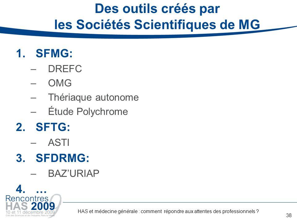 Des outils créés par les Sociétés Scientifiques de MG 1.SFMG: –DREFC –OMG –Thériaque autonome –Étude Polychrome 2.SFTG: –ASTI 3.SFDRMG: –BAZURIAP 4.…