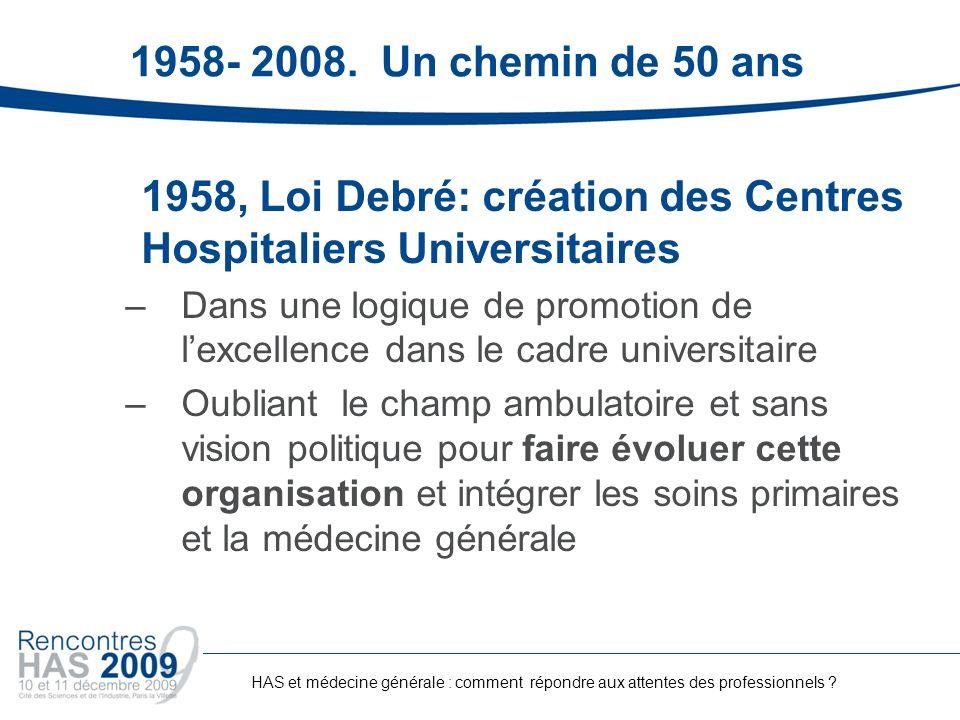 1958- 2008. Un chemin de 50 ans 1958, Loi Debré: création des Centres Hospitaliers Universitaires –Dans une logique de promotion de lexcellence dans l