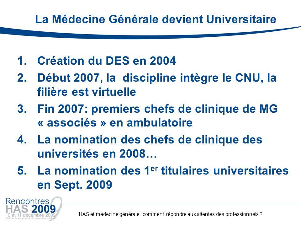 La Médecine Générale devient Universitaire 1.Création du DES en 2004 2.Début 2007, la discipline intègre le CNU, la filière est virtuelle 3.Fin 2007: