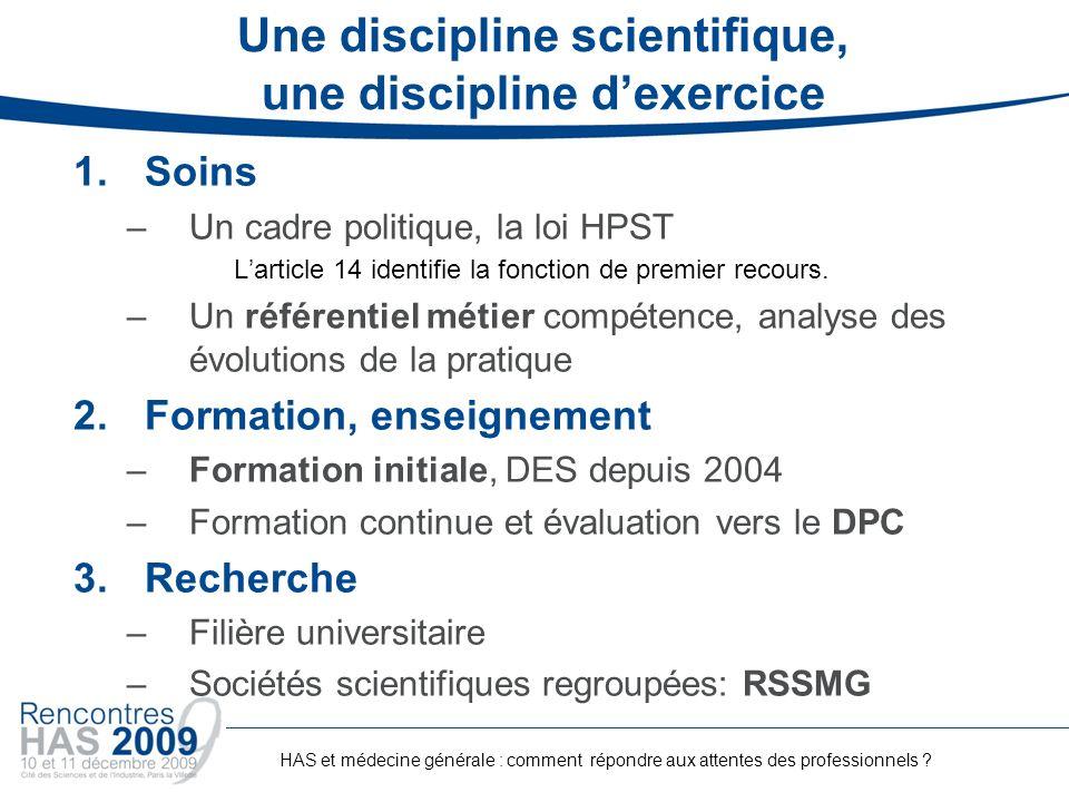 Une discipline scientifique, une discipline dexercice 1.Soins –Un cadre politique, la loi HPST Larticle 14 identifie la fonction de premier recours. –