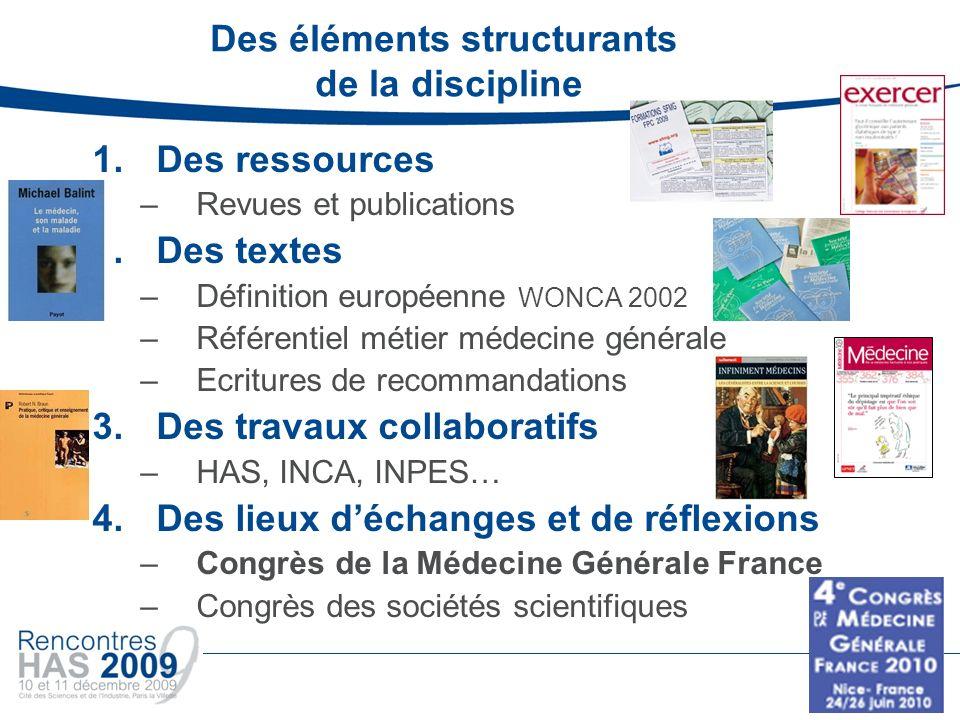Des éléments structurants de la discipline 1.Des ressources –Revues et publications 2.Des textes –Définition européenne WONCA 2002 –Référentiel métier