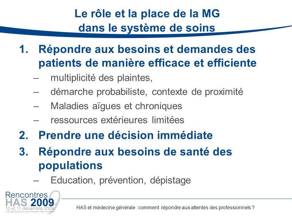 Le rôle et la place de la MG dans le système de soins 1.Répondre aux besoins et demandes des patients de manière efficace et efficiente –multiplicité