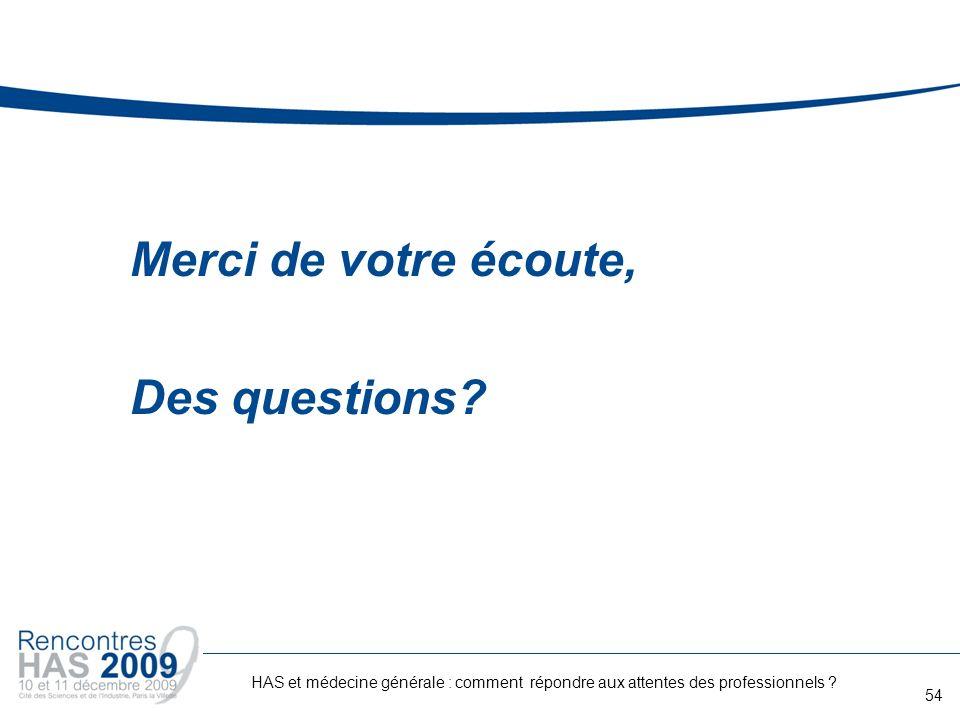Merci de votre écoute, Des questions? 54 HAS et médecine générale : comment répondre aux attentes des professionnels ?