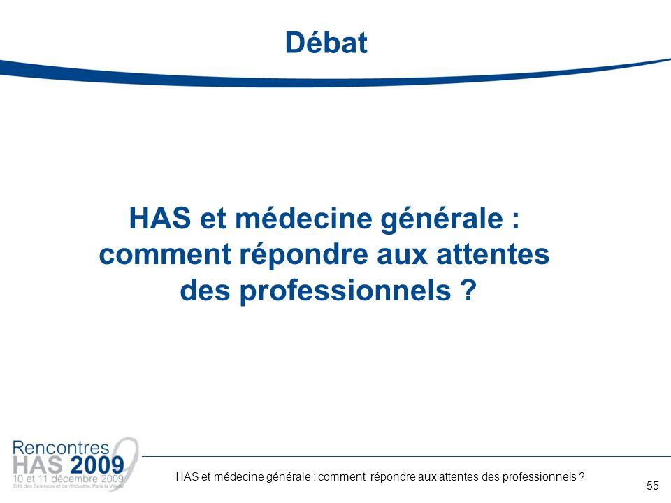 Débat HAS et médecine générale : comment répondre aux attentes des professionnels ? 55 HAS et médecine générale : comment répondre aux attentes des pr