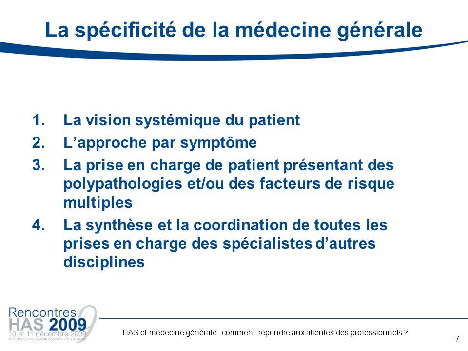 La spécificité de la médecine générale 1.La vision systémique du patient 2.Lapproche par symptôme 3.La prise en charge de patient présentant des polyp