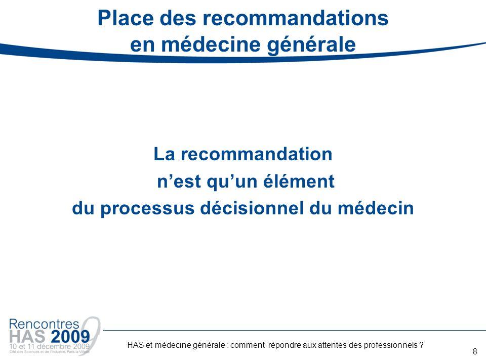Place des recommandations en médecine générale La recommandation nest quun élément du processus décisionnel du médecin 8 HAS et médecine générale : co