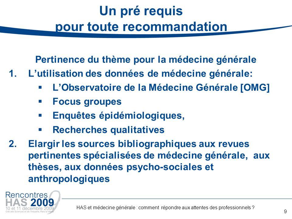 Un pré requis pour toute recommandation Pertinence du thème pour la médecine générale 1.Lutilisation des données de médecine générale: LObservatoire d