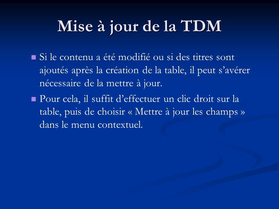 Mise à jour de la TDM Si le contenu a été modifié ou si des titres sont ajoutés après la création de la table, il peut savérer nécessaire de la mettre à jour.