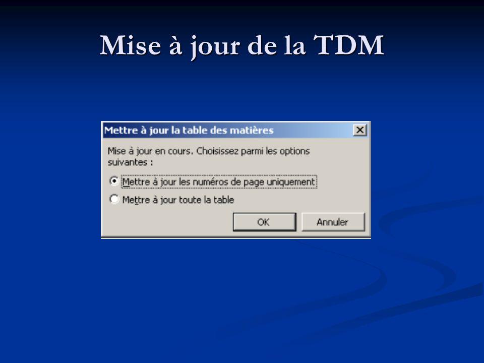 Mise à jour de la TDM