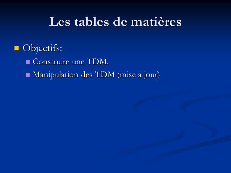 Les tables de matières Objectifs: Objectifs: Construire une TDM. Construire une TDM. Manipulation des TDM (mise à jour) Manipulation des TDM (mise à j