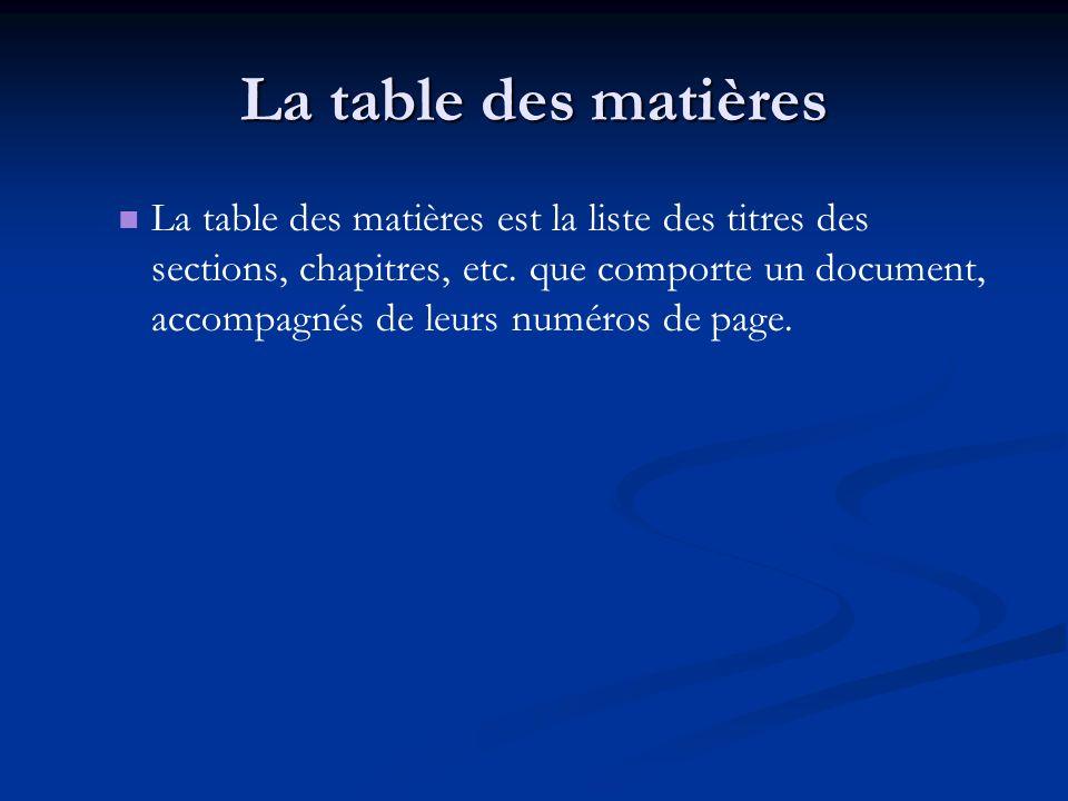 La table des matières La table des matières est la liste des titres des sections, chapitres, etc. que comporte un document, accompagnés de leurs numér