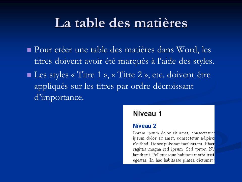 La table des matières Pour créer une table des matières dans Word, les titres doivent avoir été marqués à laide des styles. Les styles « Titre 1 », «