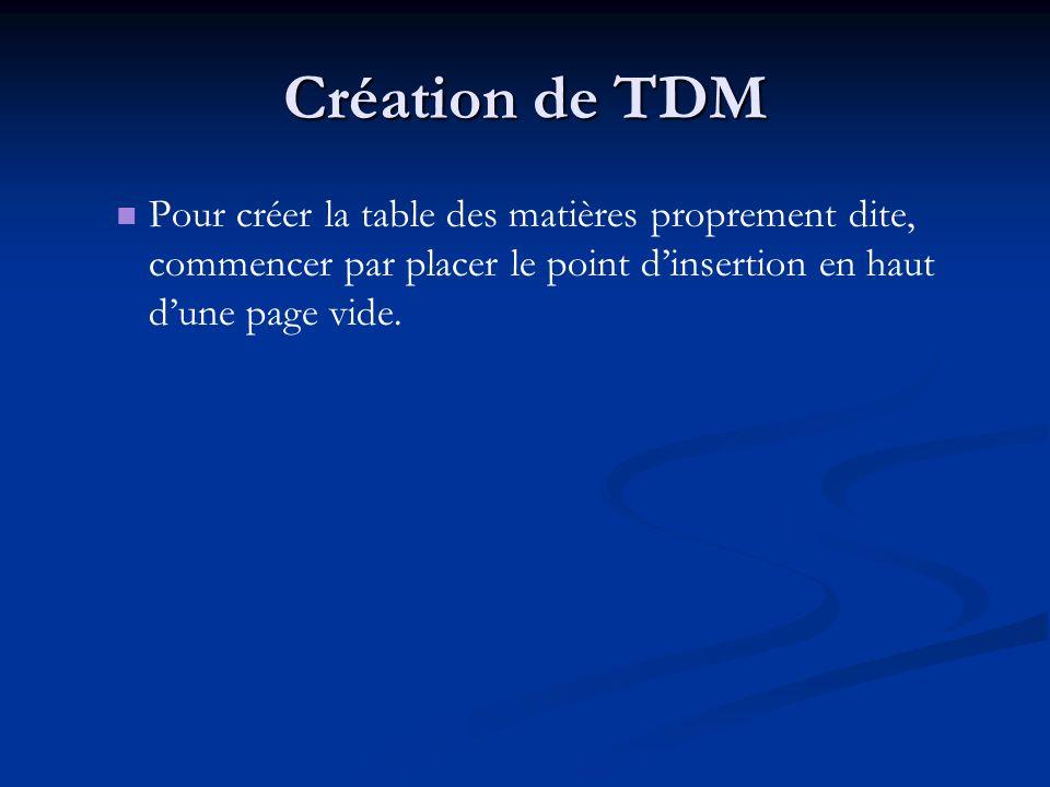 Création de TDM Pour créer la table des matières proprement dite, commencer par placer le point dinsertion en haut dune page vide.
