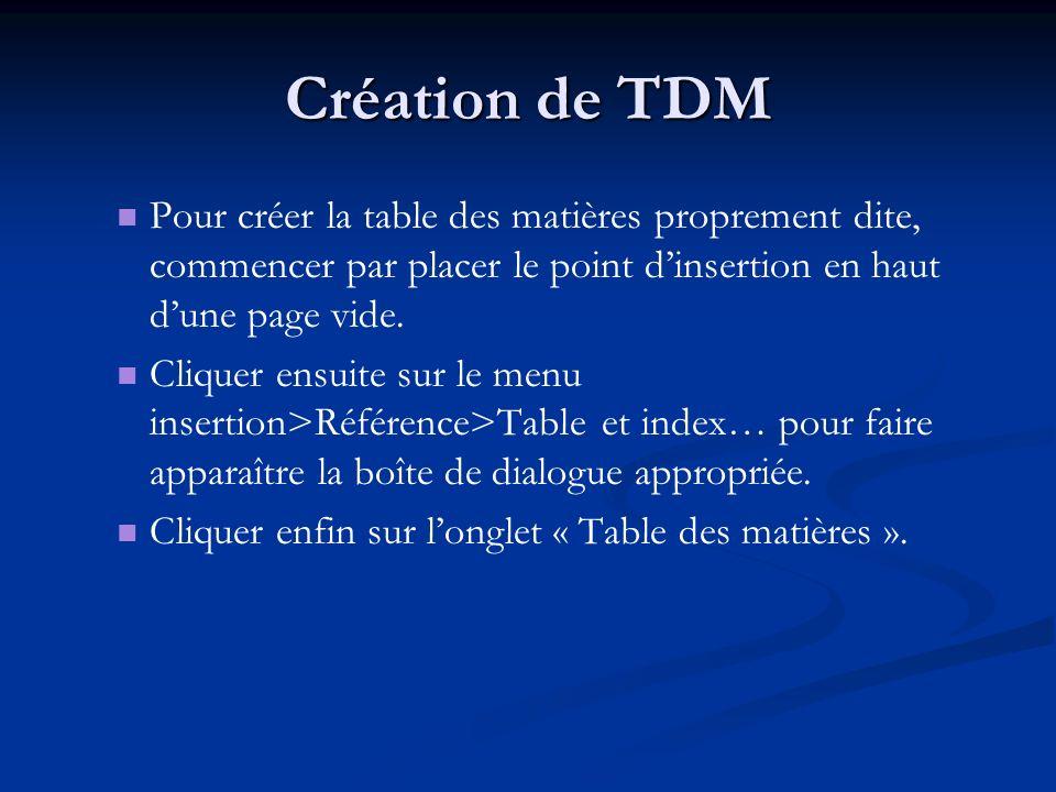 Création de TDM Pour créer la table des matières proprement dite, commencer par placer le point dinsertion en haut dune page vide. Cliquer ensuite sur