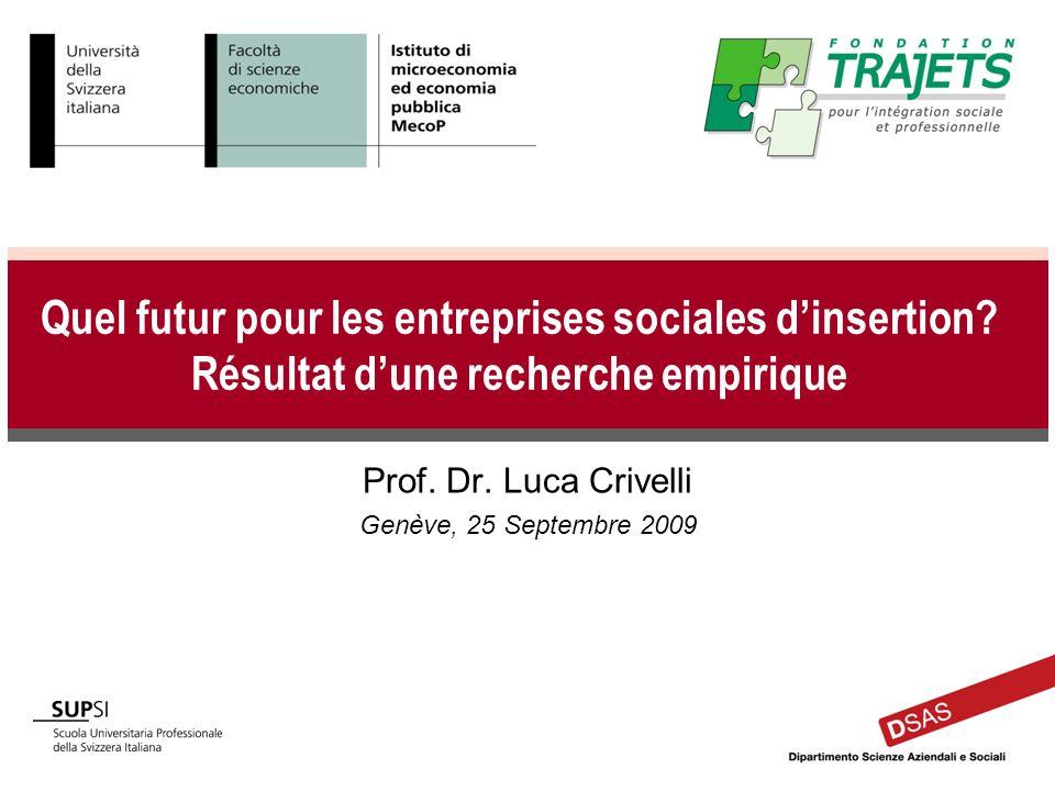 Quel futur pour les entreprises sociales dinsertion? Résultat dune recherche empirique Prof. Dr. Luca Crivelli Genève, 25 Septembre 2009