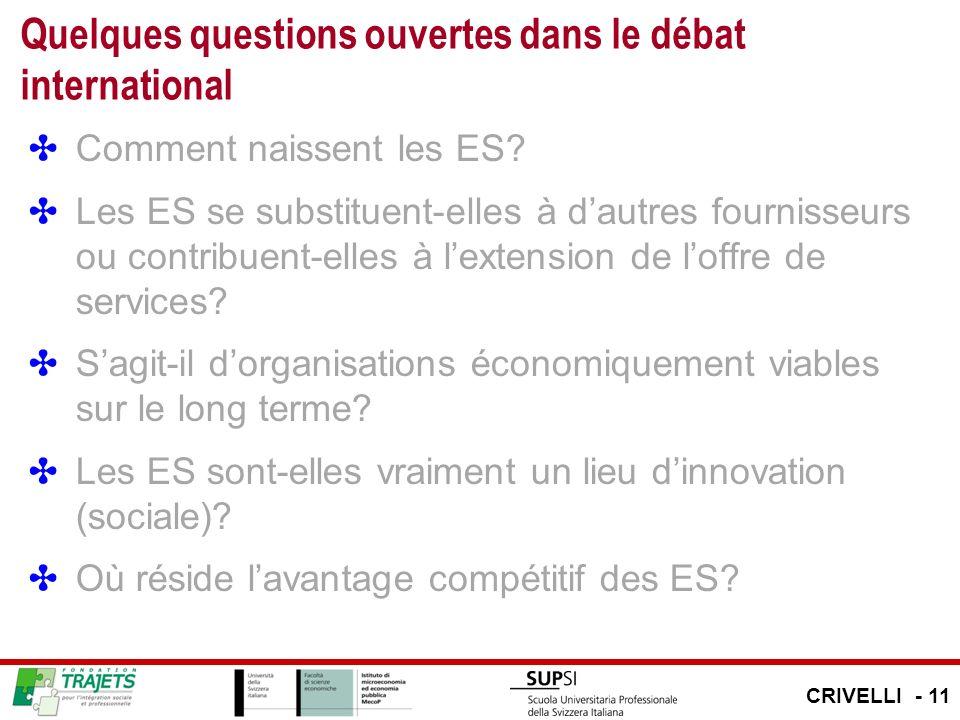 Quelques questions ouvertes dans le débat international Comment naissent les ES? Les ES se substituent-elles à dautres fournisseurs ou contribuent-ell
