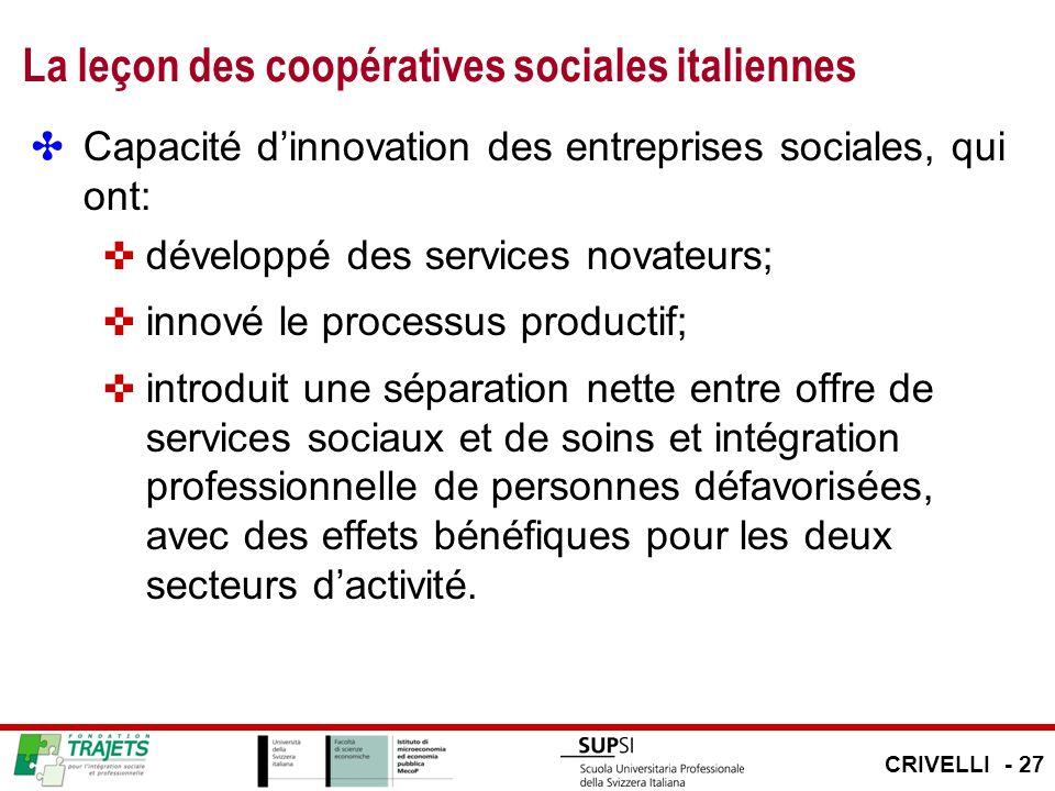 La leçon des coopératives sociales italiennes Capacité dinnovation des entreprises sociales, qui ont: développé des services novateurs; innové le proc