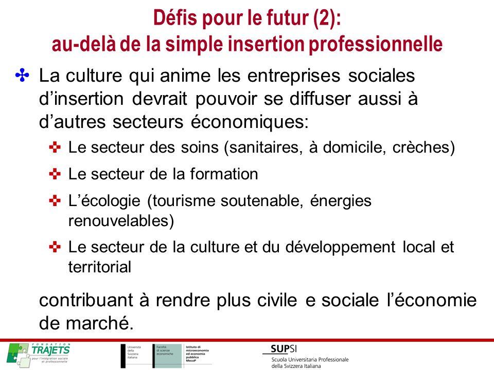 Défis pour le futur (2): au-delà de la simple insertion professionnelle La culture qui anime les entreprises sociales dinsertion devrait pouvoir se di
