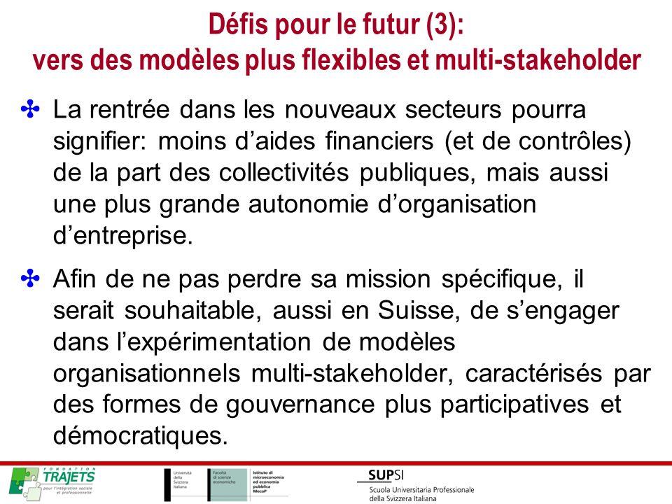 Défis pour le futur (3): vers des modèles plus flexibles et multi-stakeholder La rentrée dans les nouveaux secteurs pourra signifier: moins daides financiers (et de contrôles) de la part des collectivités publiques, mais aussi une plus grande autonomie dorganisation dentreprise.