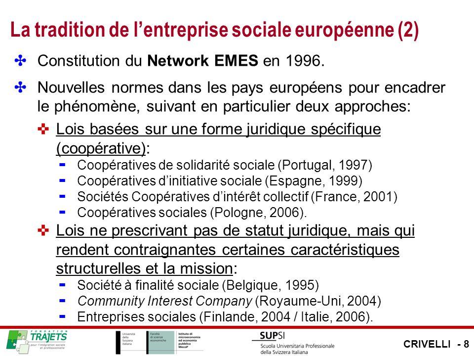 La tradition de lentreprise sociale européenne (2) Constitution du Network EMES en 1996. Nouvelles normes dans les pays européens pour encadrer le phé